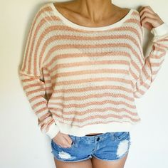 Stripped Knit Top FOREVER 21 Knit Top--Very light  Coral/cream New, never been word NWT Forever 21 Tops