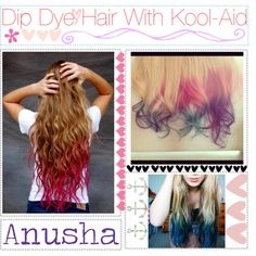 How to Dip Dye Hair with Kool-Aid. Stir 2-3 packs of kool-aid into half a pot of water, bring to a boil, put it in a plastic container, let cool 10 min, dip hair in as much as you want died, place hair on a napkin and let dry.