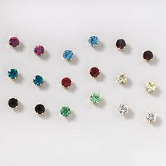 Bright Color Crystal Stud Earrings Set Of 9 Claire S Colors Earring