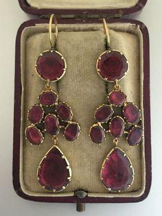 A Fabulous Pair Of Georgian Garnet Drop Earrings Circa 1800's