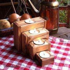 4x Candeleros para Velas de Madera de Olvia Set Advent Nuevo #Unbranded
