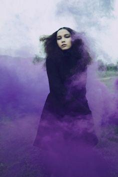 Purple smoke bomb