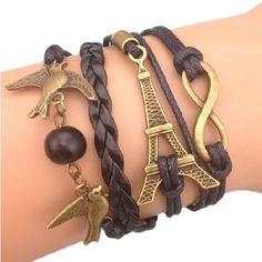 Bracelet Ingini Tour Effeil Paris France Colombes Oiseux Perle Karma Infinity…