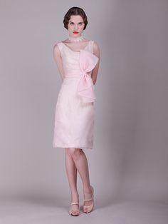 Oversized Bow Knee Length Vintage Bridesmaid Dress