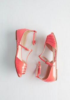 Shoe Me the Way Flat in Coral   Mod Retro Vintage Flats   ModCloth.com