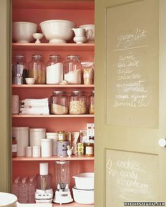 Inside pantry painted a happy color. Inside of pantry door painted in chalkboard paint. 17 of the best kitchen organizing tips from Martha Stewart. Organisation Hacks, Kitchen Organization, Organizing Tips, Household Organization, Pantry Storage, Storage Organization, Storage Ideas, Colored Chalkboard Paint, Chalkboard Walls