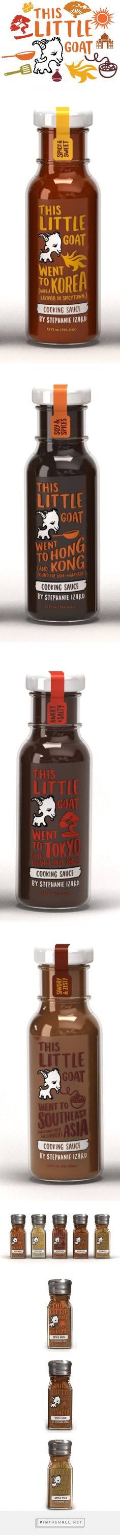 This Little Goat cooking sauces and spices—fun copy on each bottle. www.thislittlegoat.com.