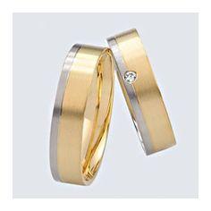 Verighete cu briliante, din aur alb cu aur galben. Cuff Bracelets, Wedding Rings, Engagement Rings, Aur, Gold, Twin, Jewelry, Outfit, Enagement Rings