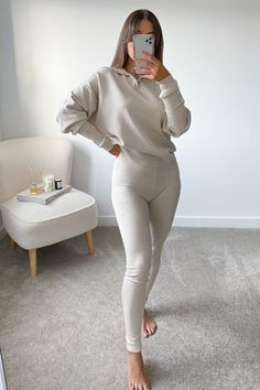 JESSIE Beige High Zip Neck Loungewear Set – Glamify Fashion
