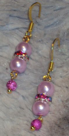 Hot Pink!  Pink Glass Pearls with Hot Pink Crystal accent and Drop Hot Pink Stardust Bead Drop Fish Hook Earrings Handcrafted by JewelryByTracyO on Etsy