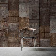 Cheap Wallpaper, Paper Wallpaper, Home Wallpaper, Metal Wall Panel, Metal Panels, Concrete Effect Paint, Feature Wall Design, Garage Door Design, Mural Wall Art