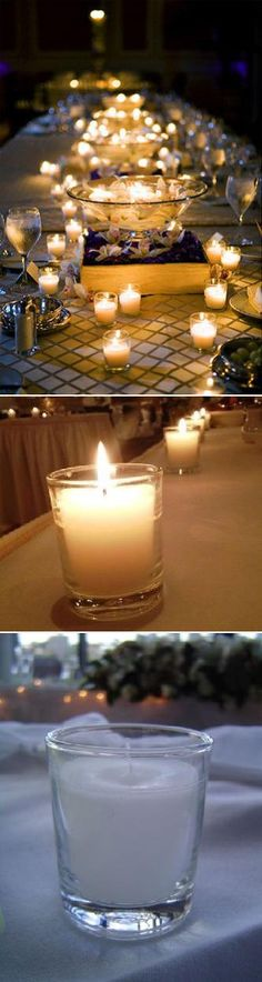 A simple and stunning way to light the tables at your reception - add candles, and instant ambiance.