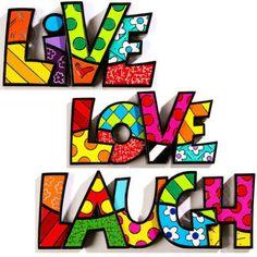 Romero Britto Words Sculpture Decor Live Love Laugh 3 PC Set by Giftcraft | eBay