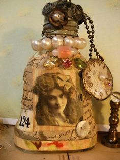 Beautiful altered art bottles