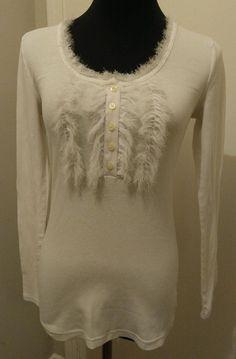 Banana Republic S White Shirt Henley Style Fuzzy NWOT Cotton Blend #BananaRepublic #Henley #Casual