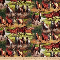 Animal Reign Horses In The Meadow Digital Print Multi