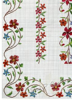 This Pin was discovered by Mar Beaded Cross Stitch, Cross Stitch Borders, Cross Stitch Flowers, Cross Stitch Designs, Cross Stitching, Cross Stitch Embroidery, Hand Embroidery, Cross Stitch Patterns, Cross Stitch Pictures