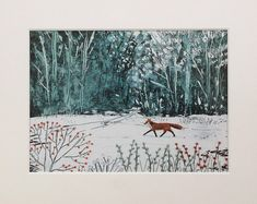 Fox in the Wood - mounted limited edition print