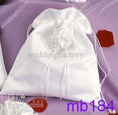 Bridal Hand Bags with Handmade Flowers White Beadings Bridal Pockets Wedding Accessories