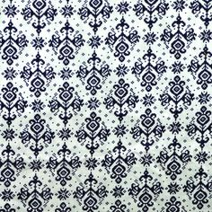 Intricate Blue Print Fabric, Quilting Cotton, Allover Design on White, half yard, B33 by DartingDogFabric on Etsy