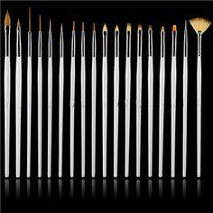 15pc Nail Art UV Gel Design Brush Set Painting Pen Polish Manicure Tips DIY Tool