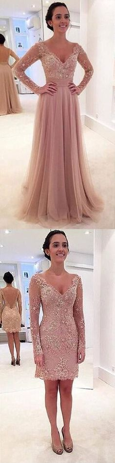 Detachable Skirt Prom Dresses,Blush pink prom dress,Tulle prom dress,Long sleeves evening gowns,Lace prom dress 2016,Removable prom dress,