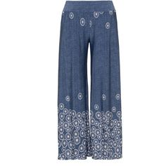 Mat Blue / White Plus Size Wide leg floral trousers ($100) ❤ liked on Polyvore featuring pants, blue, plus size, white pants, floral pants, straight pants, plus size elastic waist pants and womens plus pants