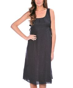 Look what I found on #zulily! Navy Blue Linen Shift Dress #zulilyfinds