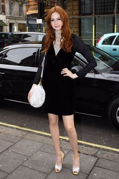 Pin for Later: Karen Gillan Is Definitely a Style Star to Watch  Stepping out in London for a visit to the Radio One studios, Karen sported a black dress with a lace inset, and sparkly silver and yellow heels.