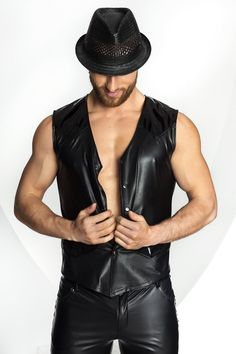 Noir Handmade Mens Wet Look Waistcoat Cooler Style, Revival Clothing, The Right Man, Wet Look, Leather Vest, Boxers, Leather Fashion, Outfit, Menswear