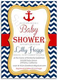 Navy Themed Baby Shower Invitation Chevron by SushikittysDesigns, $5.00