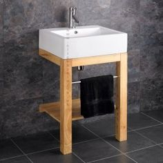 Verona Ceramic Belfast Floor Mounted Basin with Wooden Stand and Tap. Stunning Belfast Style Ceramic Wash Basin Sink includes the wooden washstand in the set. Bathroom Sink Storage, Bathroom Sink Units, Bathroom Basin, Wood Bathroom, Bathroom Wall Decor, Bathroom Styling, Laundry Sinks, Laundry Rooms, Modern Bathroom