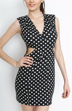black polka dot with faux wrap dress wholesaledressfashionwholesale sexydress