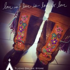 Beautiful custom made Mukluks made by the late Dora Marie Lafferty of Behchokǫ̀. She was a talented artisan and her memory is remembered through her creations.