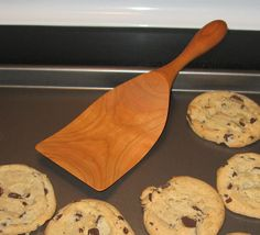 """91/2"""" Baking Spurtle. Made in Lena, Illinois. Maple or Cherry. $28.00.  Wood utensils are my favorite. These are heirloom quality."""