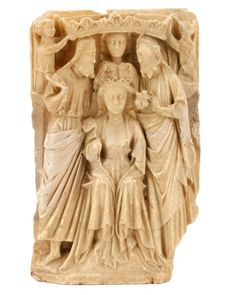 15th C. English Alabaster, Coronation of Mary : Lot 297. Hammer Price $7,000