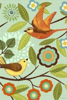 Mod Birds Vert by Jennifer Brinley | Ruth Levison Design