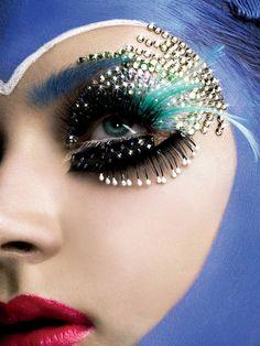 Flamboyant, creative and colorful embellished fantasy eye makeup by Thananon Thanakornkarn.