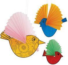 móbiles de passarinhos com papel
