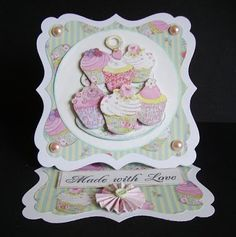 This is an easel card i made from the Dovecraft range Cupcake Boutique