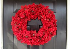 Red Hydrangea and Poinsettia Christmas Wreath- Front Door Christmas Wreath- Outdoor Christmas Wreath. $60.00, via Etsy.