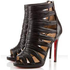 Christian Louboutin Tinazata 120mm Leather Ankle Boots Black