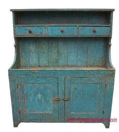 "beautiful old blue dry sink circa 1850-1860  Plank paneled doors 49""w x 19.5 d x 51.5 h"