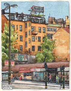 Slussen, Stockholm by nina drawing, via Flickr