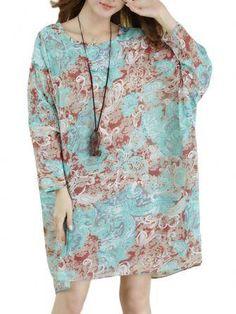 Les femmes élégant papillon t-shirt imprimé en mousseline de soie à manches chauve-souris bohème chez Banggood