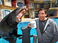 Steve Carell with a sea lion at SeaWorld.