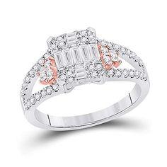 14kt Two-tone Gold Baguette Diamond Fashion Cluster Ring for Women 3/4 Cttw Tiea 3 Carat, Diamond Settings, Baguette Diamond, Cluster Ring, Gold Material, Types Of Metal, Diamond Jewelry, Gemstones, Rings