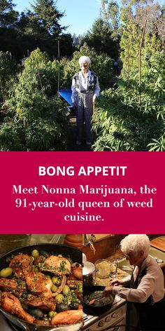 "Using buds grown by her own daughter, Nonna teaches us a foolproof method for infusing cannabis into butter, then guides us through preparing Chicken ""Pot-cciatore"" and gnocchi in ganja butter. Weed Recipes, Weed Art, Cannabis Edibles, Glass Bongs, Smoothie, Medical Cannabis, Kraut, Herbalism, The Cure"
