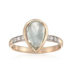Ross-Simons - 2.10 Carat Green Amethyst and .10 ct. t.w. Diamond Ring in 14kt Yellow Gold - #790491