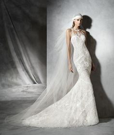 Pladia, modernes Brautkleid mit Spitze
